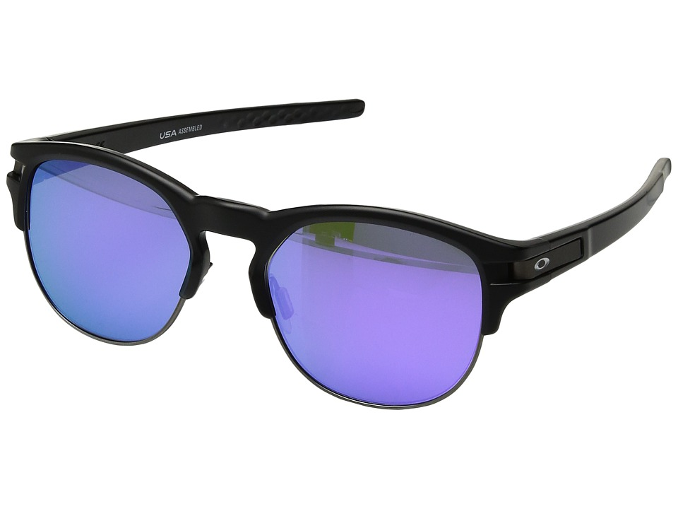 Oakley Latch Key M (52) (Matte Black w/ Violet Iridium) Athletic Performance Sport Sunglasses