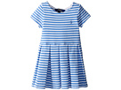 Polo Ralph Lauren Kids Striped Ponte Pleated Dress (Toddler)