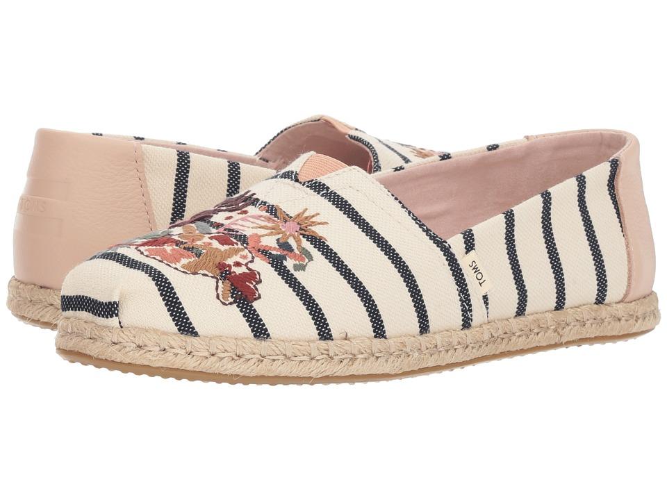 TOMS Alpargata (Floral Embroidery Woven Stripe) Women's Shoes