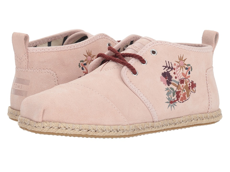 TOMS Bota (Blush Floral Embroidery Suede Rope)
