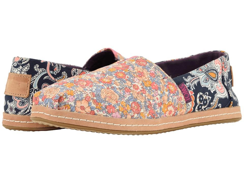 TOMS Alpargata (Navy Mosaic Red Floral Linen) Women's Shoes