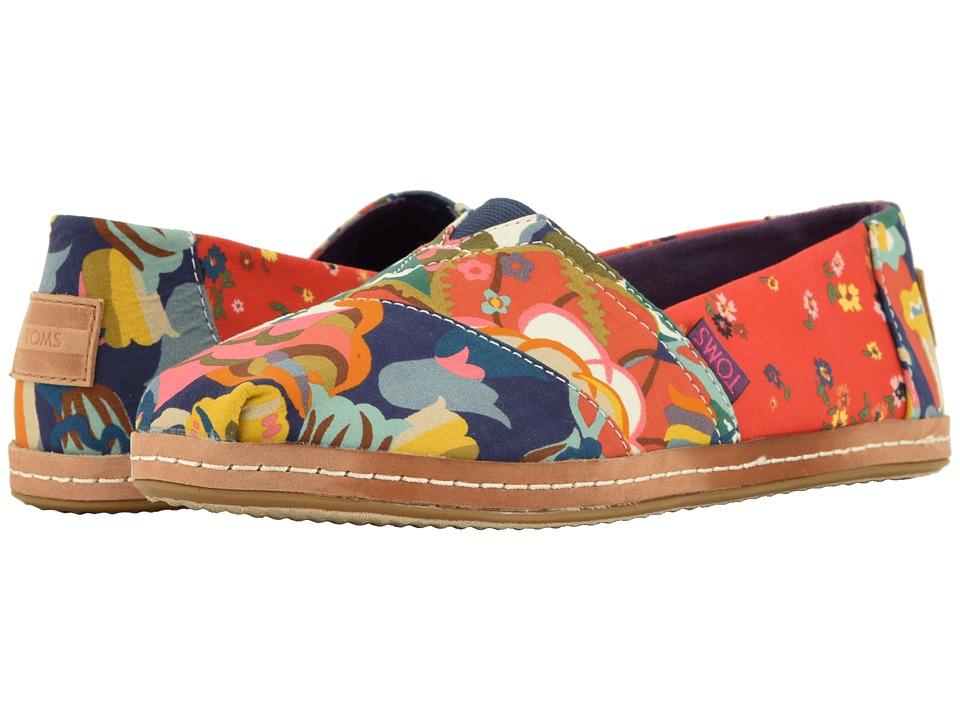 TOMS Alpargata (Red Ditzy Floral/Mosaic Linen) Women's Shoes