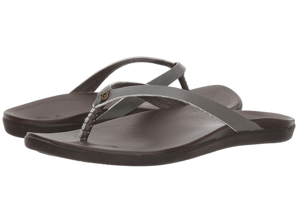 OluKai Ho'opio Leather (Dusty Olive/Dark Java) Sandals