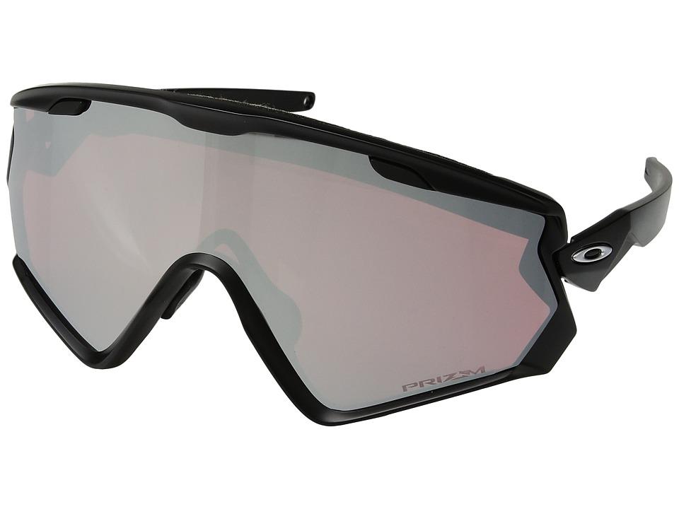 Oakley Wind Jacket 2.0 Snow (Matte Black w/ Prizm Snow Black) Athletic Performance Sport Sunglasses