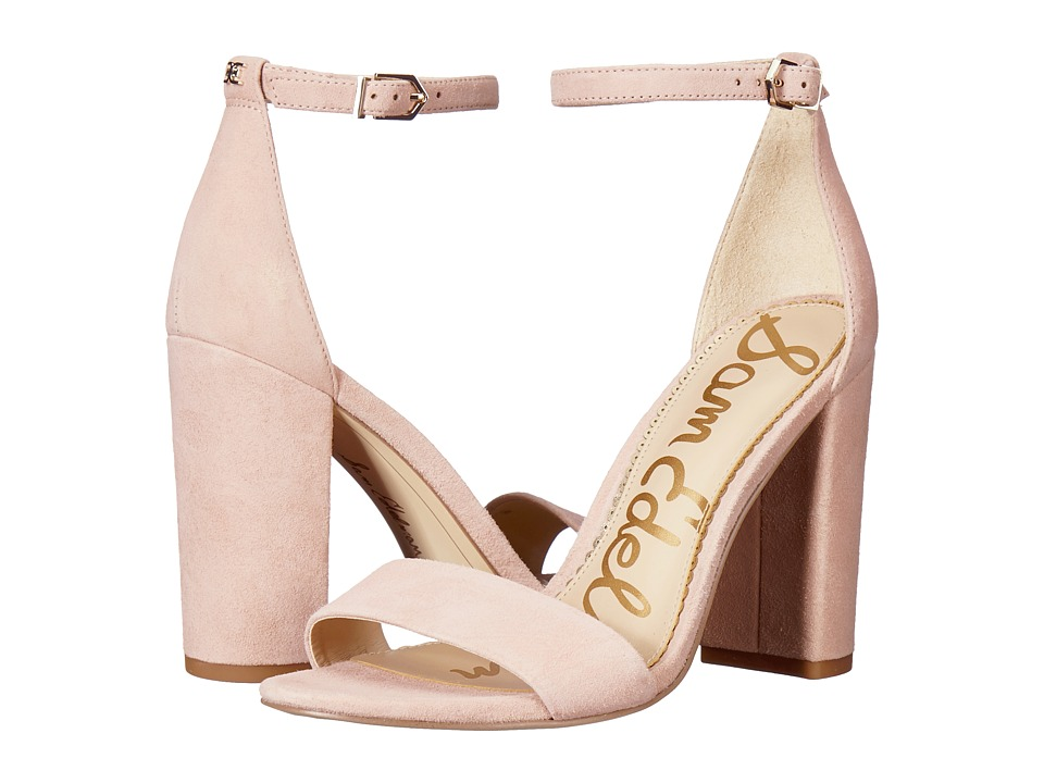 Sam Edelman Yaro Ankle Strap Sandal Heel (Seashell Pink Kid Suede Nubuck) Women's Dress Sandals
