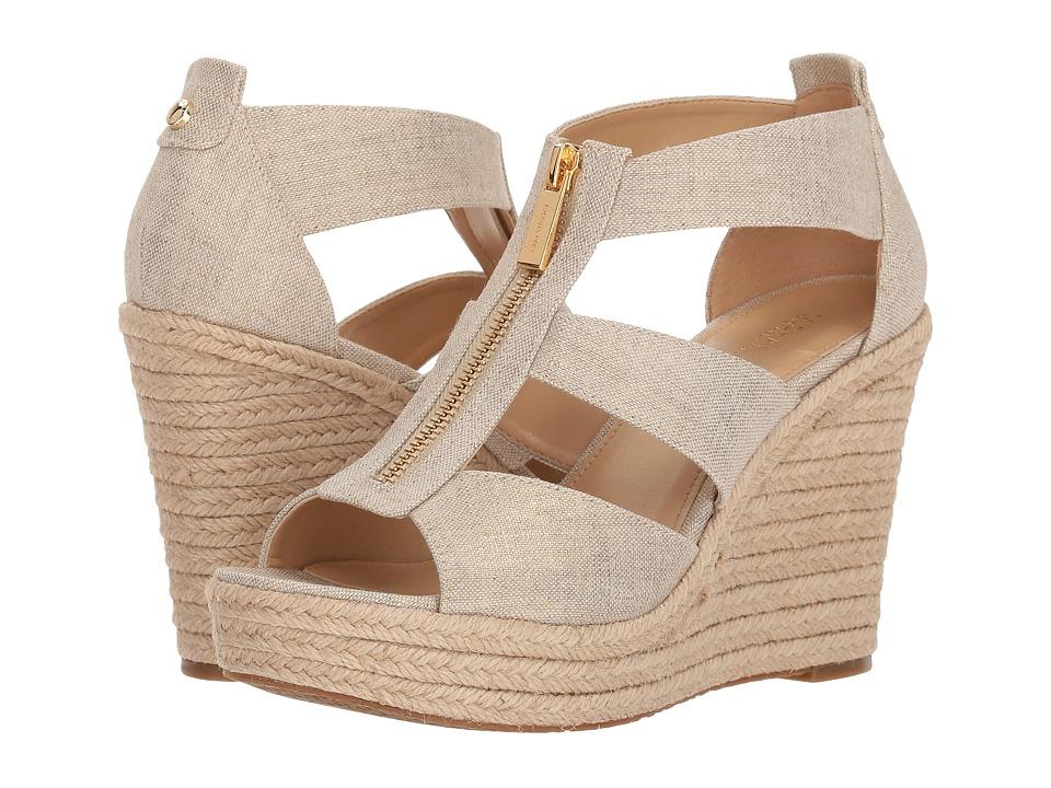 Michael Kors Damita Wedge (Pale Gold Metallic Linen) Women's Wedge Shoes