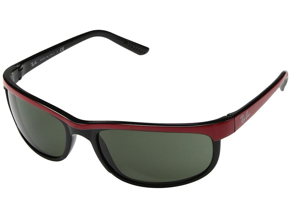 Ray-Ban RB2027 Predator 2 (Top Red on Black/Green) Sport Sunglasses