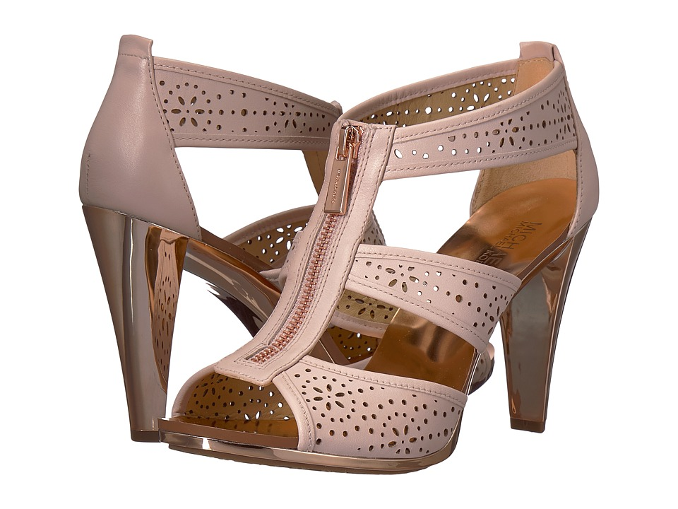 MICHAEL Michael Kors - Berkley T - Strap (Soft Pink Vachetta Hazel Perf) Womens Dress Sandals