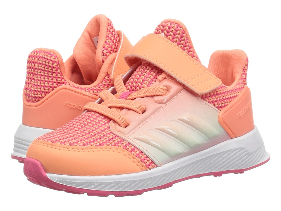 adidas Kids RapidaRun EL I (Toddler) (Chalk Coral/White/Real Pink) Girls Shoes