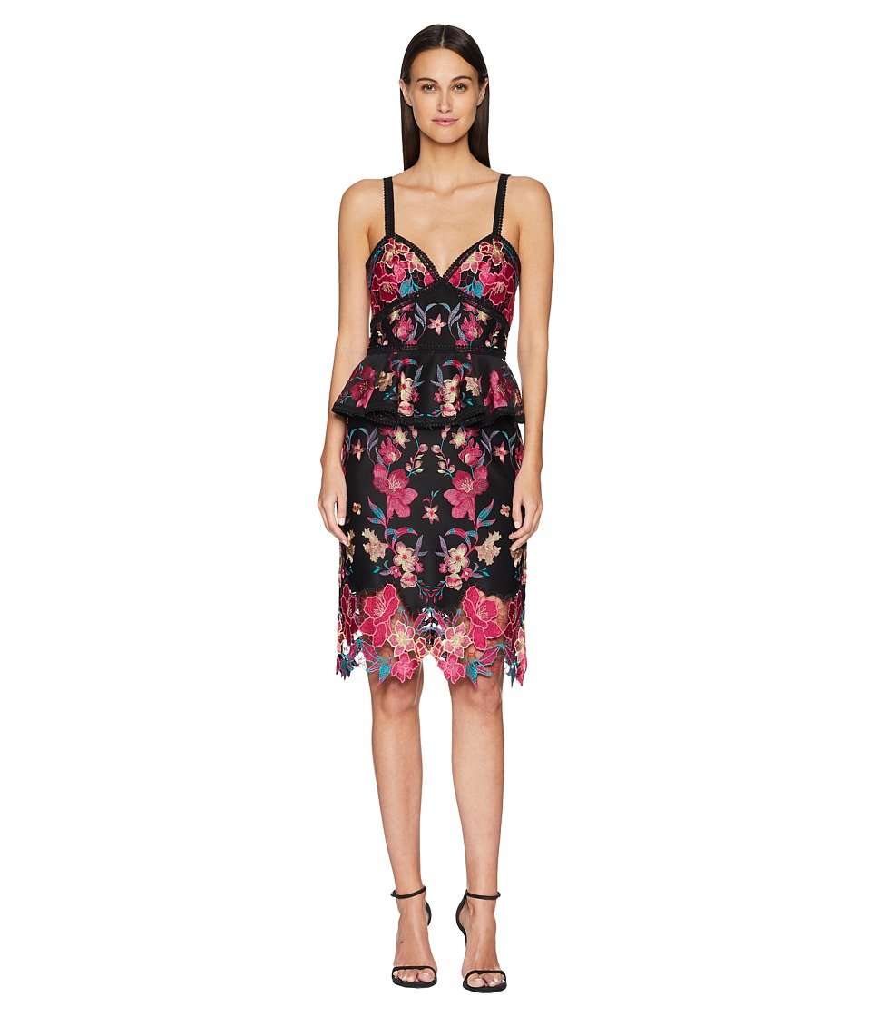 Marchesa Notte - Sleeveless Embroidered Laser Cut Neoprene Cocktail with Peplum and Trims (Black) Womens Dress