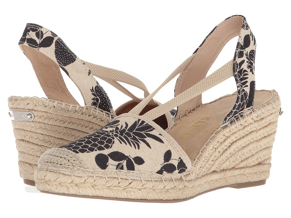 Anne Klein Abbey (Black/Natural Multi Fabric) Wedges