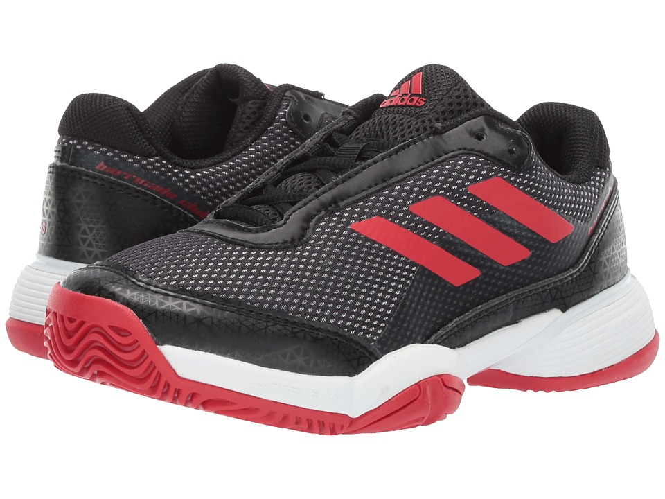 adidas Kids Barricade Club xJ Tennis (Little Kid/Big Kid) (Black/Scarlet/White) Kids Shoes