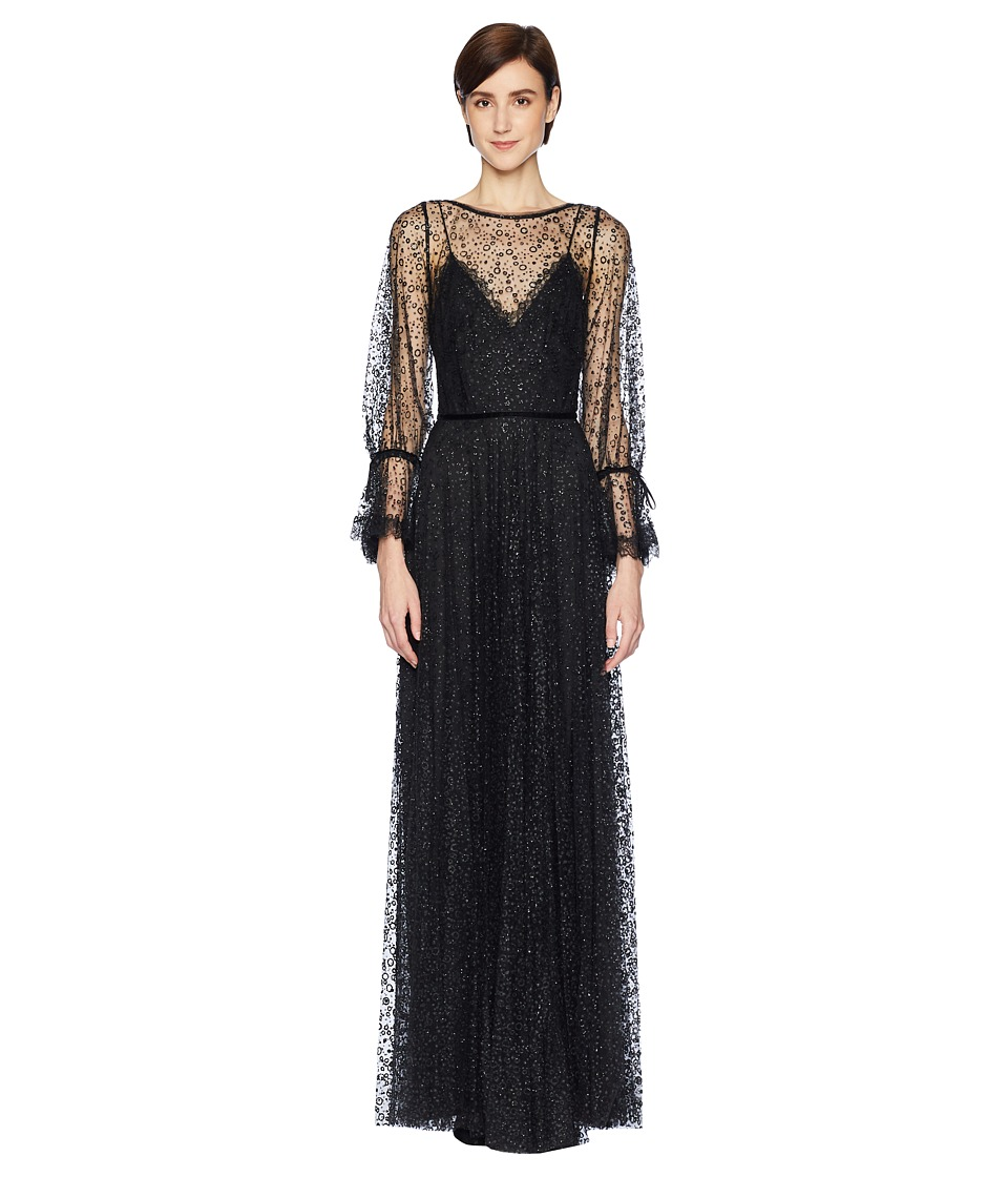 Marchesa Notte - Bishop Sleeve Glitter Tulle Gown with Lace and Velvet Trims (Black) Womens Dress