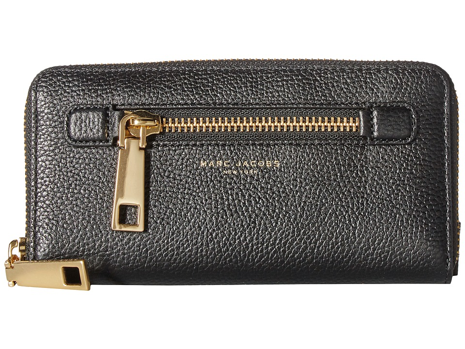 Marc Jacobs - Gotham Continental Wallet (Black/Gold) Wallet Handbags
