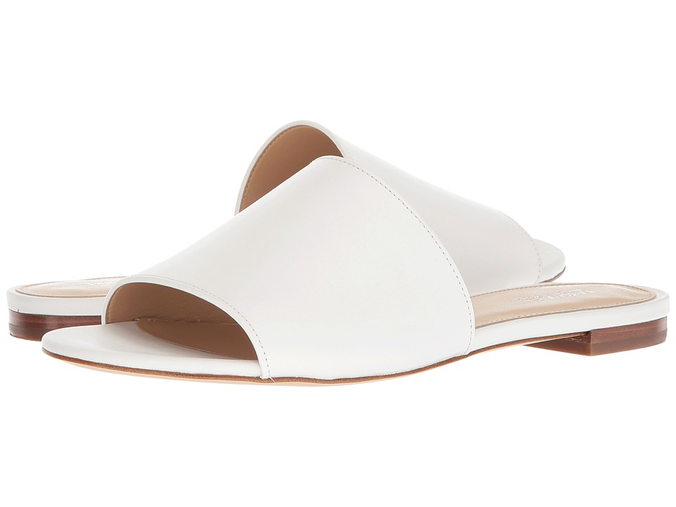 MICHAEL Michael Kors Shelly Slide (Optic White Vachetta/Stacked Heel) Sandals