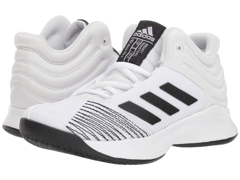 adidas Kids Pro Spark Basketball Wide (Little Kid/Big Kid) (White/Black/Grey) Kid