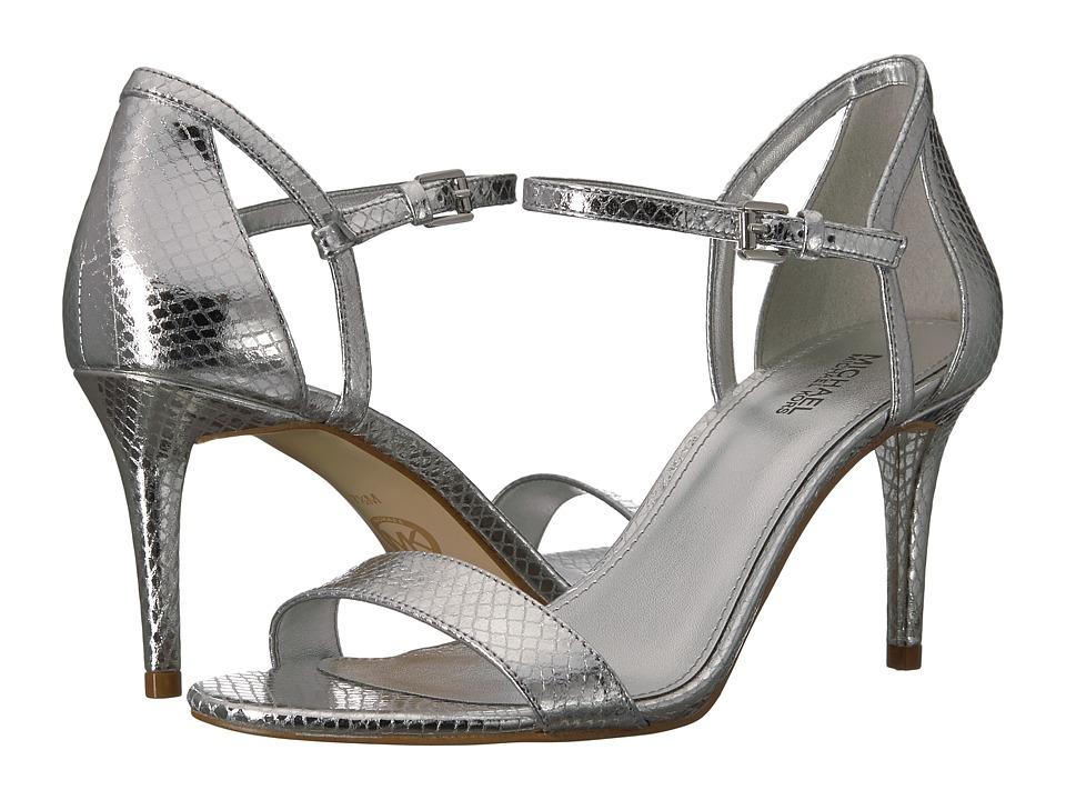 MICHAEL Michael Kors Simone Mid Sandal (Silver Shiny Metallic Snake) Women