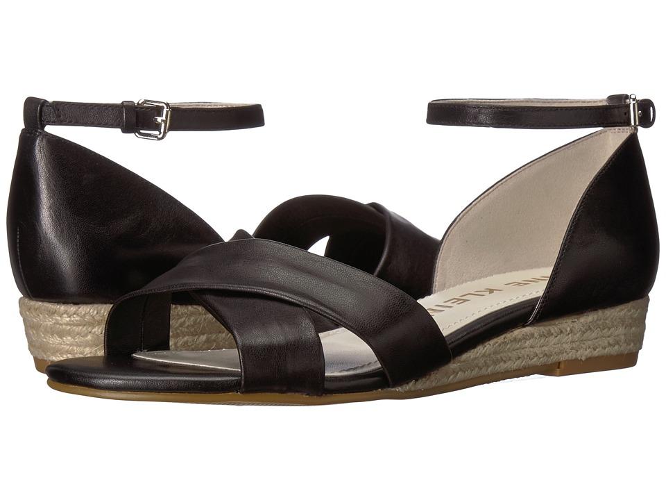 Anne Klein - Nanetta (Black Leather) Womens Wedge Shoes