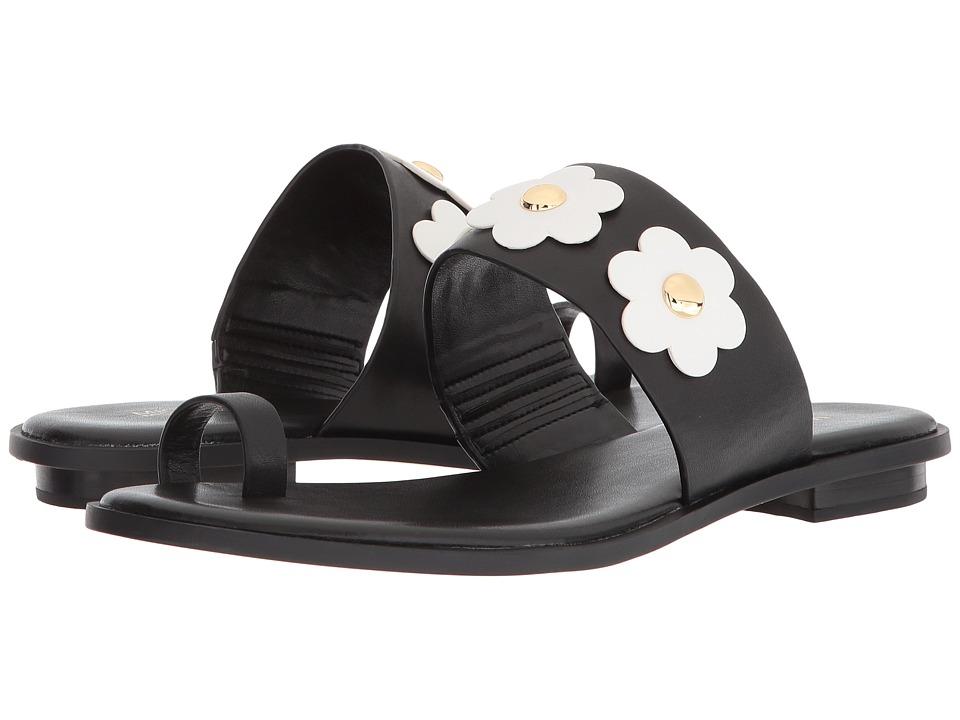 MICHAEL Michael Kors - Sonya Flat Sandal (Black/Optic White Vachetta/Cut Out Flower) Women's Sandals