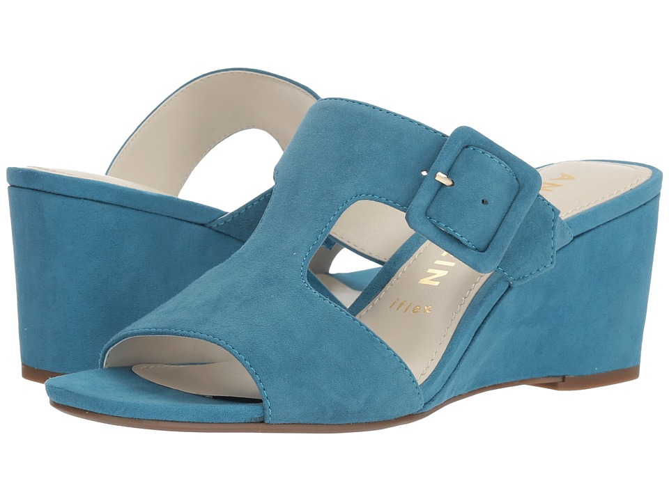 Anne Klein Nilli (Medium Blue Suede) Wedges