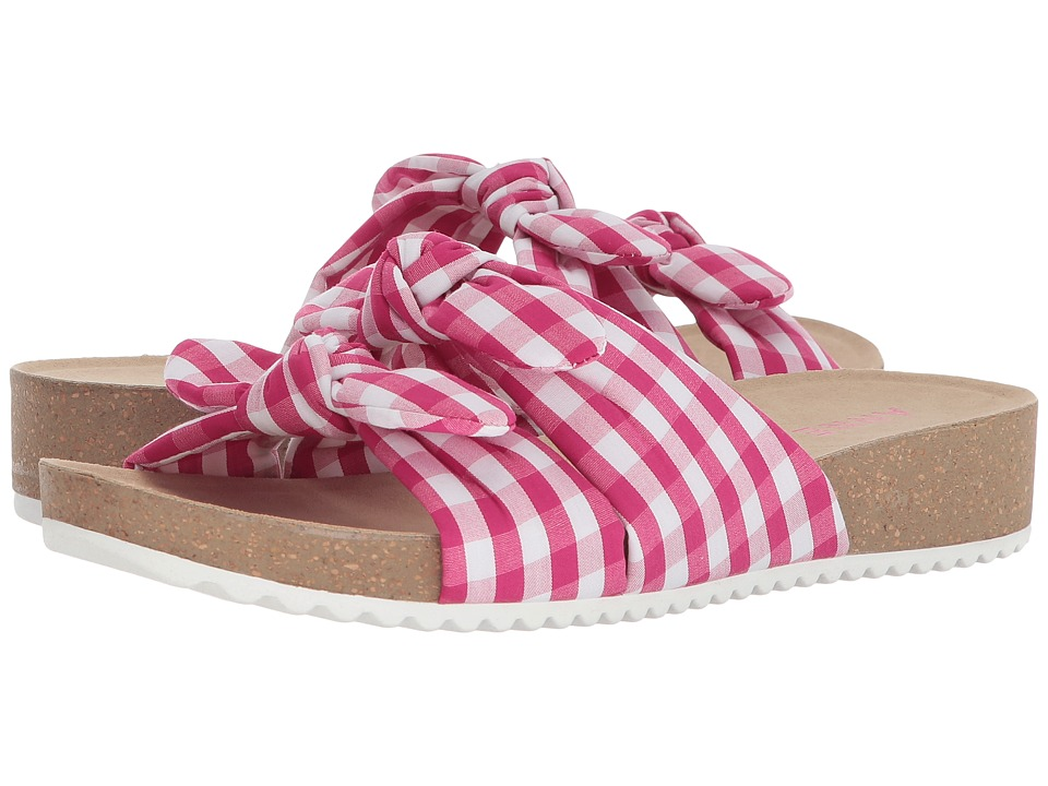 Anne Klein Quilt (Dark Pink/White Fabric) Sandals