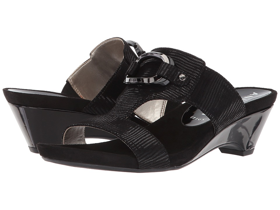 Anne Klein Teela (Black Fabric) Wedges