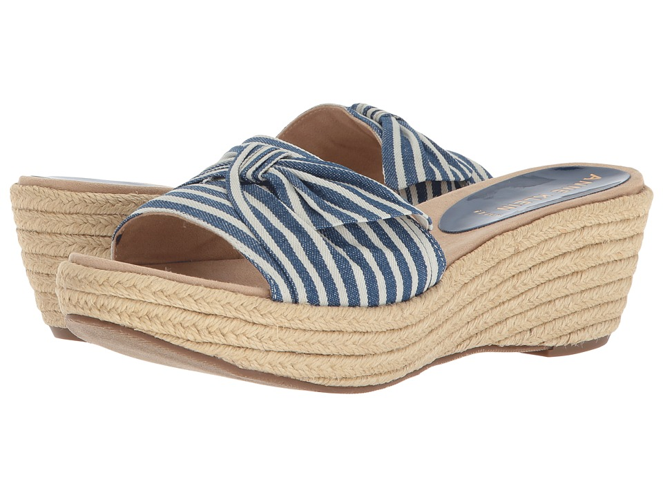 Anne Klein Zandal (Navy/White Fabric) Wedges