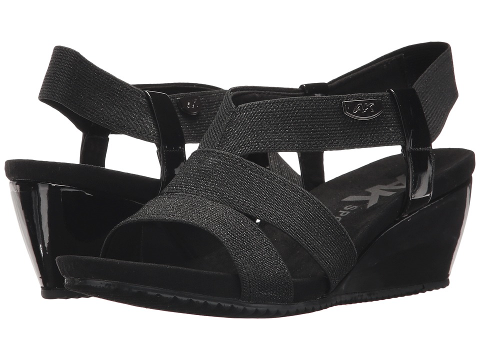 Anne Klein - Cabrini (Black/Black Fabric) Womens Wedge Shoes