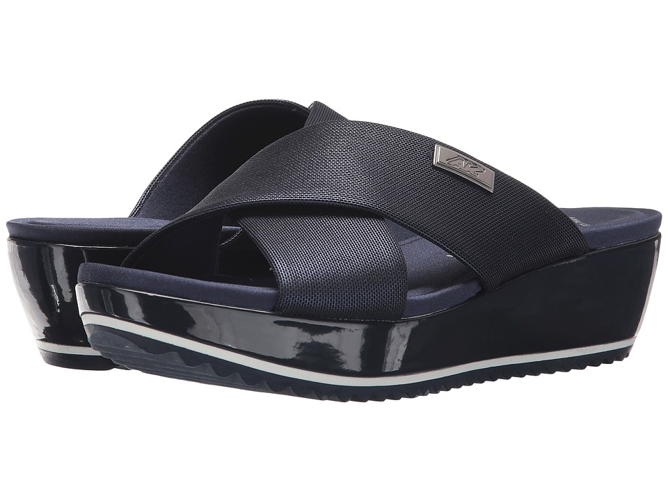 Anne Klein Felisha (Metallic Navy Fabric) Wedges