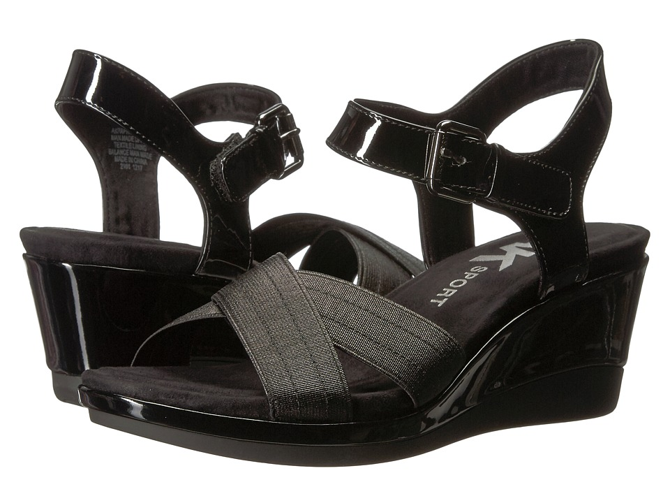 Anne Klein Paprika (Black/Black Synthetic) Wedges