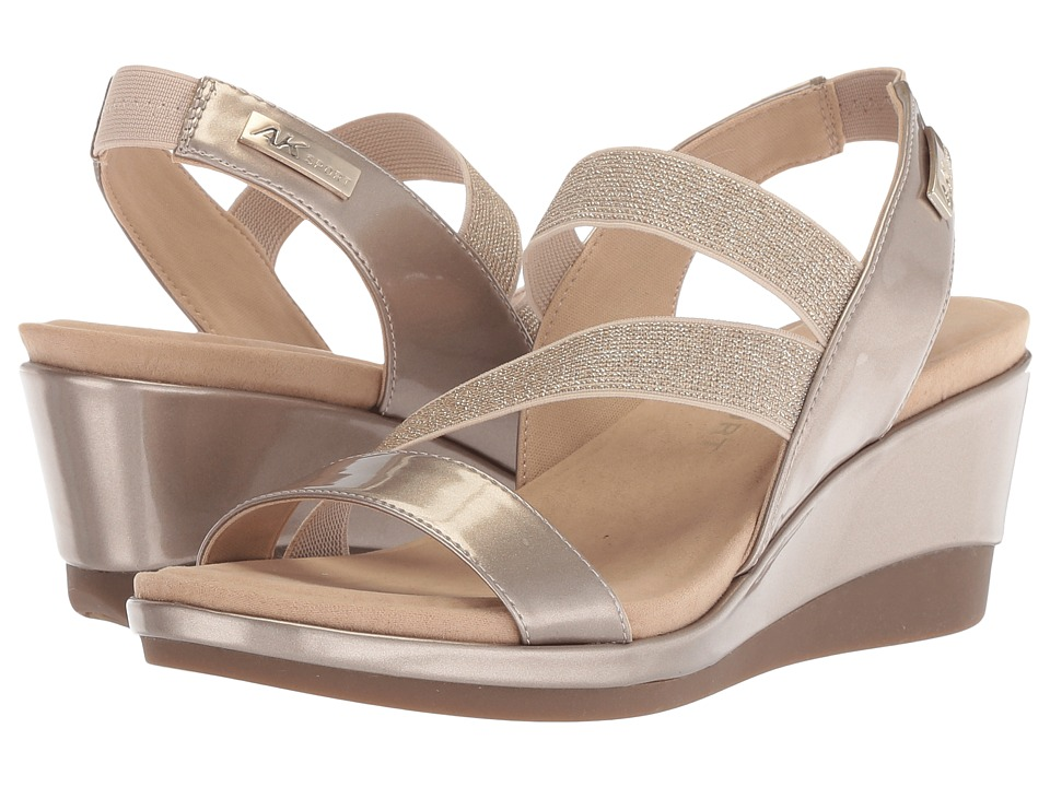 Anne Klein - Peppina (Light Gold/Light Gold Synthetic) Womens Wedge Shoes