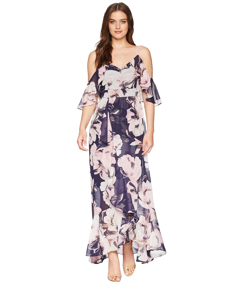Vince Camuto Printed Chiffon Cold Shoulder Maxi Dress with Ruffled ...