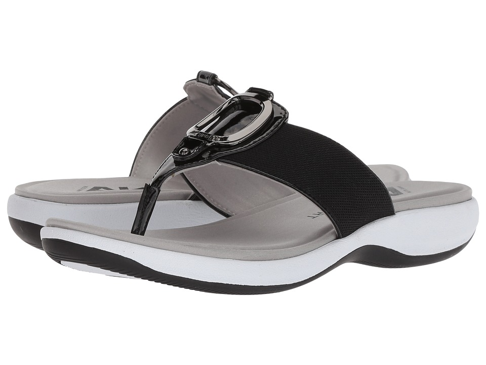 Anne Klein Quartet (Black/Black Fabric) Sandals