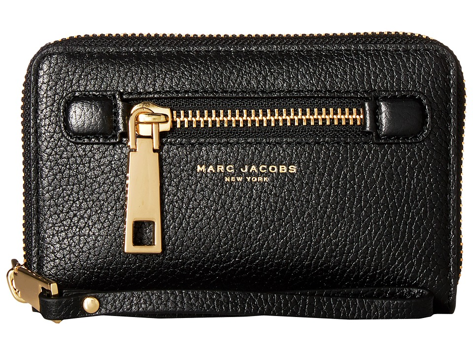 Marc Jacobs - Gotham Zip Phone Wristlet (Black/Gold) Wristlet Handbags