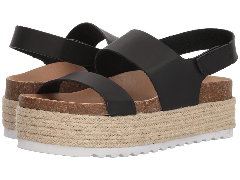 Dirty Laundry Peyton Platform Sandal (Black Smooth) Wedges