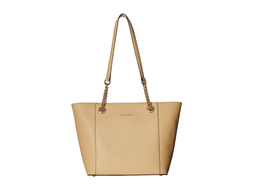 Calvin Klein Saffiano Tote (Nude/Gold) Tote Handbags