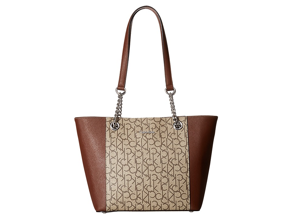 Calvin Klein Monogram East/West Tote (Natural) Tote Handbags