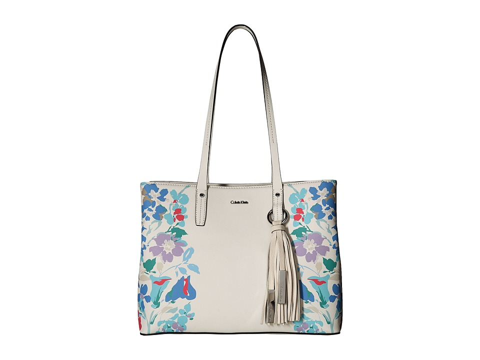 Calvin Klein Printed Floral East/West Tote (Floral White)...