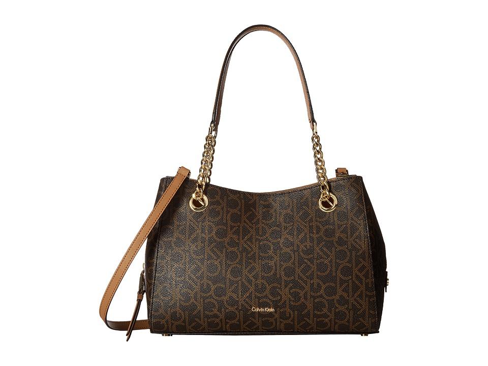 Calvin Klein Monogram Satchel (Brown/Khaki) Satchel Handbags
