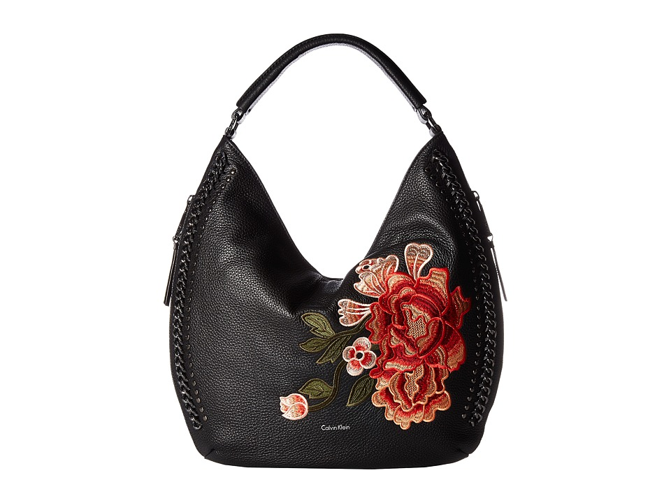 Calvin Klein Flower Embroidery Hobo Handbags
