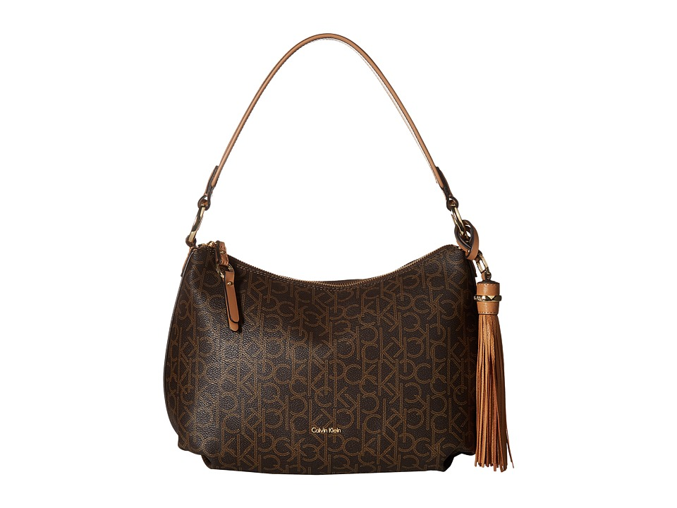 Calvin Klein Monogram Hobo (Brown/Khaki) Hobo Handbags