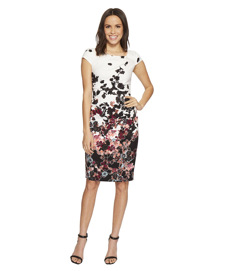 Adrianna Papell - Floral Bliss Printed Stretch Crepe Sheath Dress with Cowl Neckline and Draped, Tucked Body, Fully Lined (Ivory Multi) Womens Dress