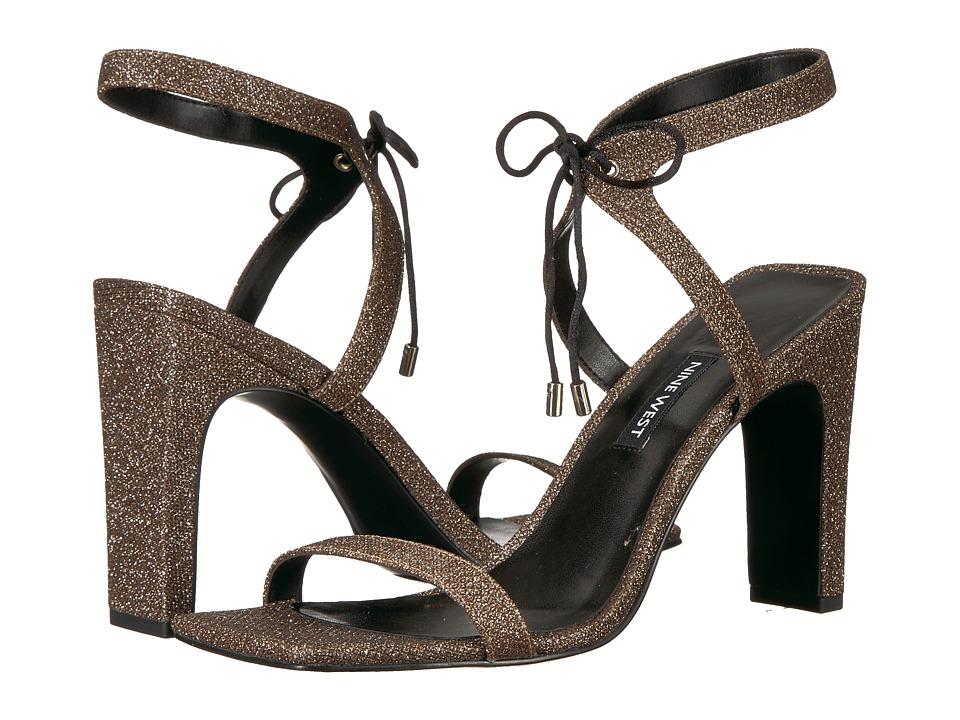 Nine West - Longitano Heel Sandal (Black Natural Fabric) Womens Shoes