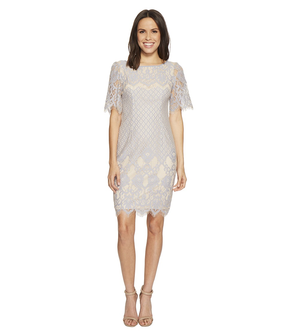 Adrianna Papell - Bell Sleeve Georgia Lace Sheath (Sky/Cadmium) Womens Dress