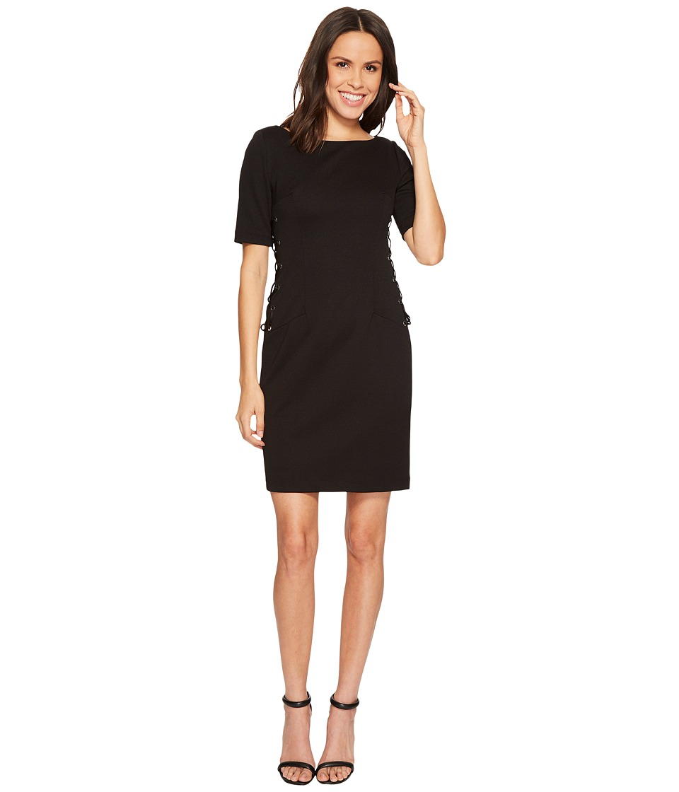 Adrianna Papell - Micro Ottoman Sheath Dress with Lace-Up Detail and Elbow Sleeve (Black) Womens Dress