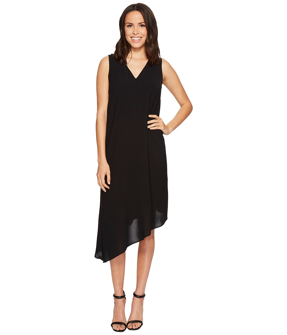Adrianna Papell - Gauzy Crepe Asymmetrical Trapeze Dress with V Neckline, V Cut Out Back, and Back Ruffled Drape, Fully Lined (Black) Womens Dress