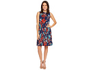 Adrianna Papell Botanical Soiree Floral Printed Pleated Fit and Flare Dress, Fully Lined