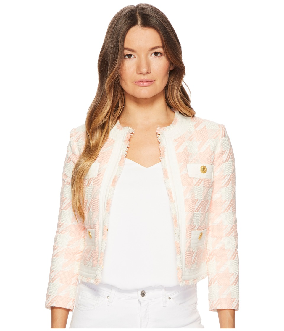 Pierre Balmain - Gingham Gold Buttoned Jacket (Salmon) Womens Coat
