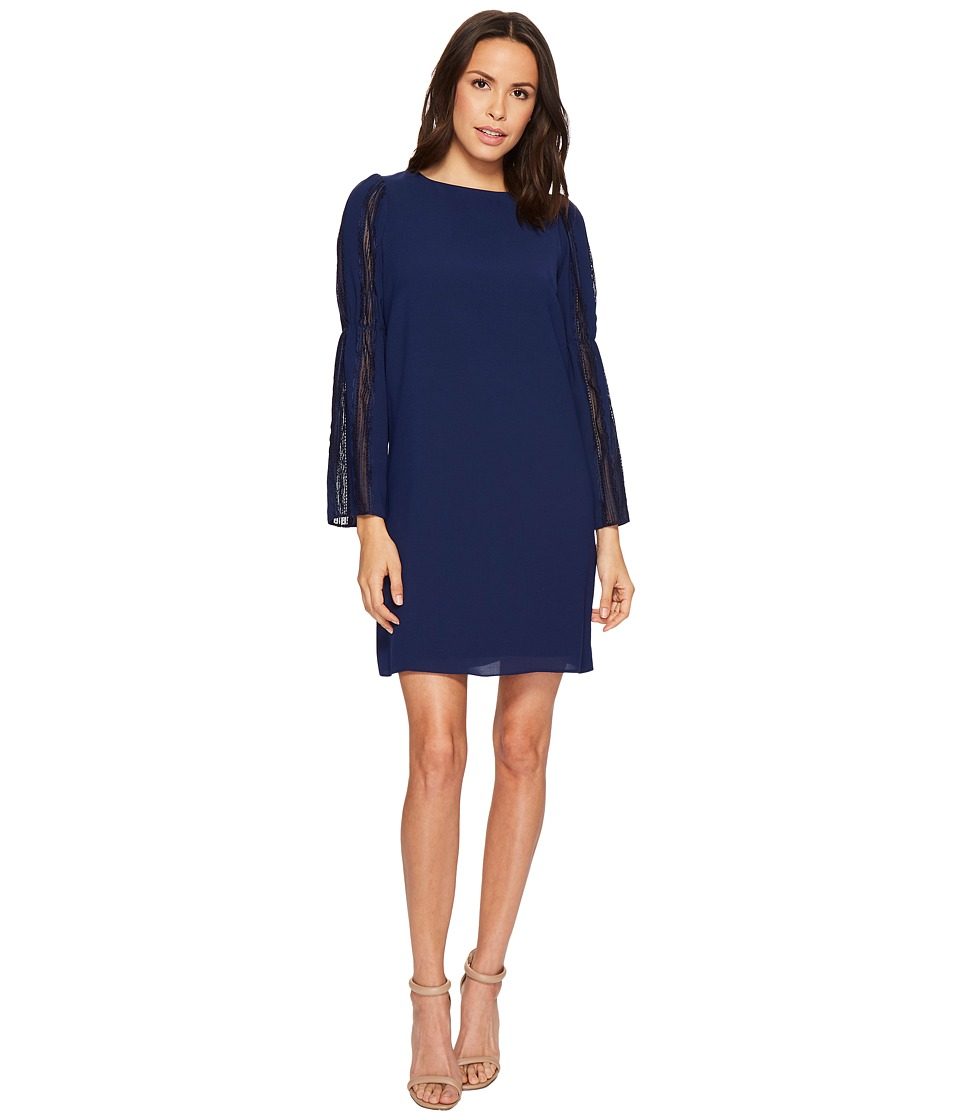 Adrianna Papell - Trapeze Swing Dress with Lace Trimmed Bell Sleeves (Navy Sateen) Womens Dress