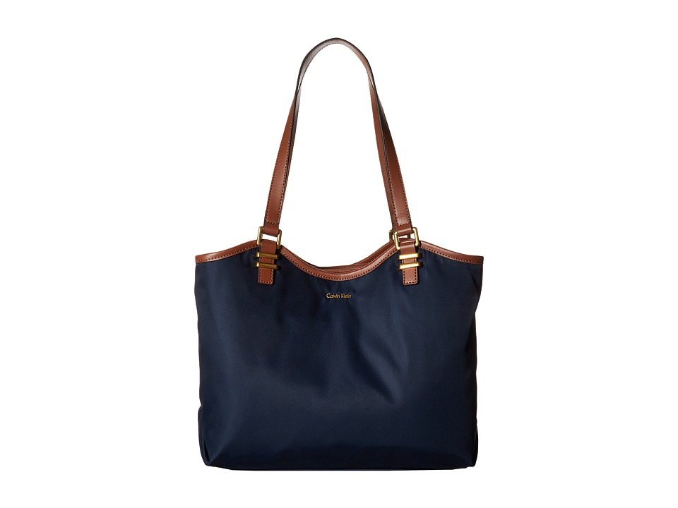 Calvin Klein Nylon North/South Tote (Navy) Tote Handbags
